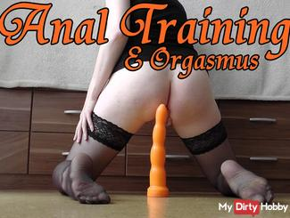Anal training with giant dildo and orgasm!