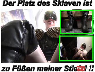 The place of the slave is at the feet of the boots of the Mistress!