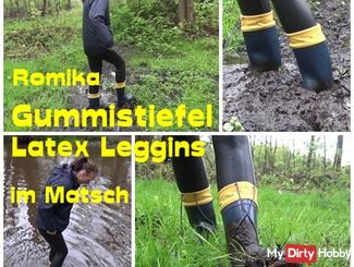 Rubber boots and latex leggings in the mud