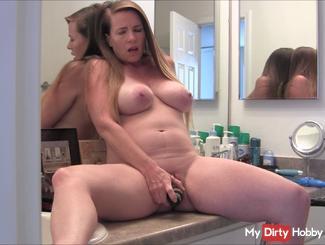Pregnant Milf Bathroom Counter Masturbation