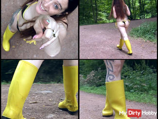 The yellow rubber booties running through the woods