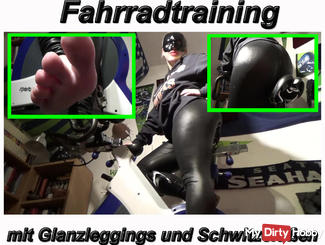 Bicycle training with horny shiny leggings and roux feet
