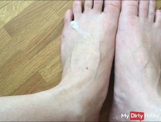 Dirty feet fully spit!