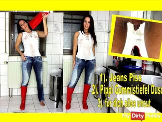 XXL Jeans Piss with T-Shirt Wellington Pippi Shower