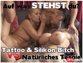 Tattoowierte silicone bitch Vs. Natural Teen