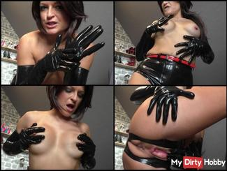 horny shiny latex gloves