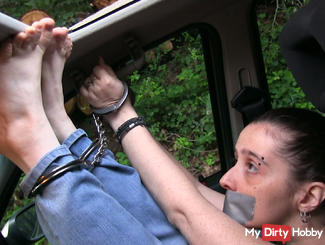 Humiliating way to chain someone in the car!