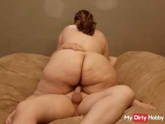 BBW Latina rides me on a lovesac, then creampie