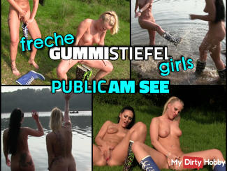 Naughty Girls BOOTS - piss Public and jerk at the lake