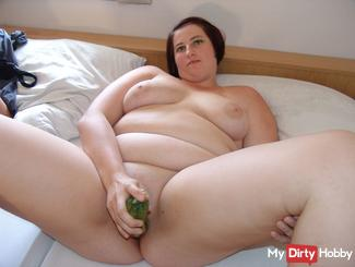 The zucchini deep in my pussy