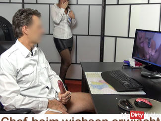Caught! Boss is jerking of my own porno