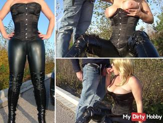 Wank and blow job in outdoor paint and corset