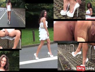 julie walking in white dimarni high heels & up skirt