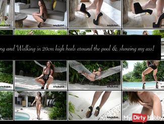 teasing and walking in extreme arched 20cm high heels around pool.