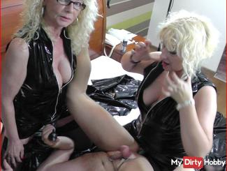 Two dominant BLONDES PART 6 - User Strapon fuck ass