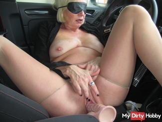 blown with blindfold rubber cock