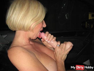perverted rubber suck cock in car