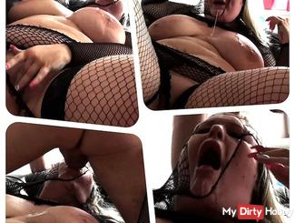 SINDY DEEP-THROAT on her back/ spitting over herself (6/9)