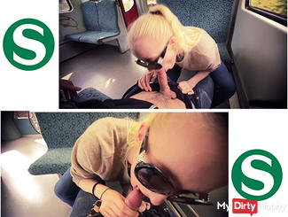 Horny TEEN student makes BLOWJOB  in the train!