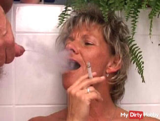 Smoking and peeing in the mouth cunt