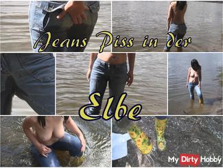 Jeans piss in the river Elbe