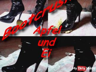 Smashed Bootcrushing apple and egg with knee patent leather boots
