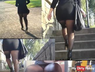Sexy nylon bitch secretly filmed