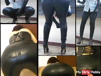 Latex ban in the office, boss wixt me as a punishment to the latex leggings