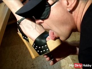 Slave ... Lick my sperm-HEELS CLEAN