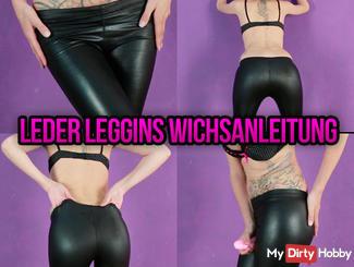 Leather leggins & dildo play jerk off
