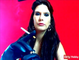 Smoking with leather gloves