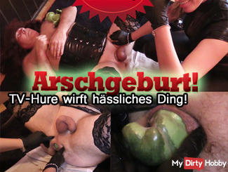 Ass birth! TV whore casts an ugly thing!