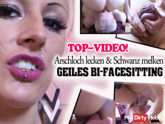 Horny Bi-Facesitting! Asshole licking and milking cock!