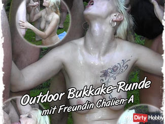Outdoor Bukkake session with girlfriend Chalien-A