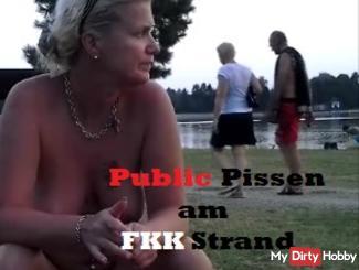 Public pissing at the nudist beach