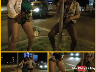Public Pissing! Drunk Milfs middle of the roundabout ...
