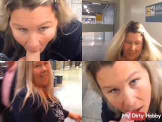 PUBLIC BLOWJOB am Flughafen mit Miss-Busty-MilF und Spermawalk