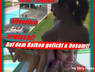 PUBLIC fucked on the balcony and inseminated! Total embarrassing caught!
