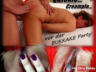 Cameraman fucks me before bukkake party Doggy Style! Creampie Quickie!