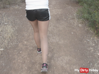 On holiday in FSH Tights / Turnhose Shiny Shorts wetlook and Sneaker