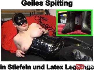 Horny Spitting in boots and leggings