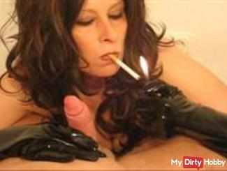 Smoking Fetish Latex Blowjob by MILF