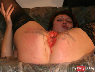 Breasts and pussy filled with wax