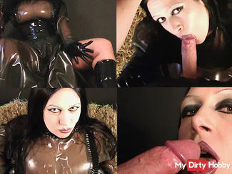 Horny rubber maid blowing horny cock