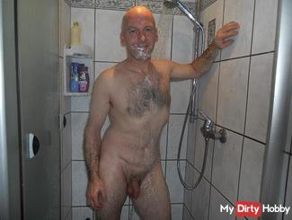 He's in the shower...