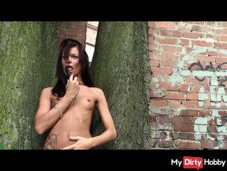 Outdoorfick dildo with my pussy