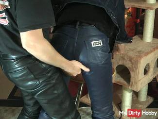 User-blue leather pants