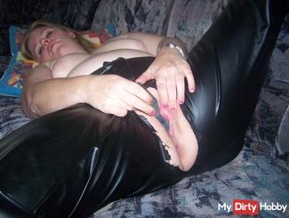 Leather pants with holes