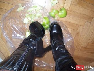 With black high heels .......