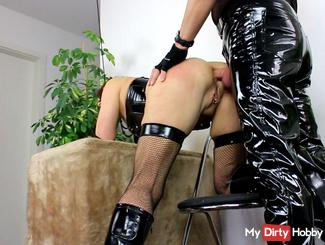 Ass fuck with whip in mouth